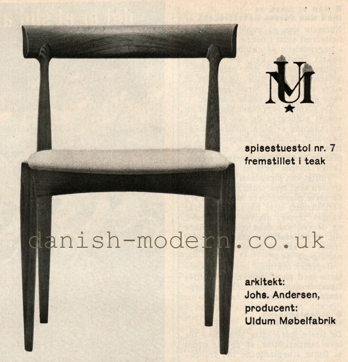 Johannes Andersen for Uldum Møbelfabrik