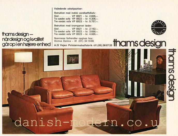 Unspecified designer for Vejen Polstermøbelfabrik at Domus Danica: Thams Kvalitet VP 8921, 8922, 8923