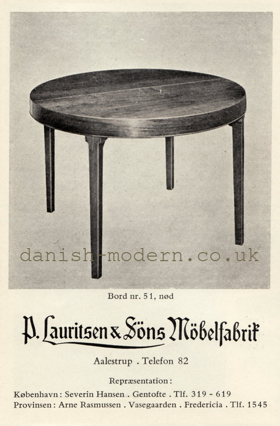 P Lauritsen & Søns Møbelfabrik table